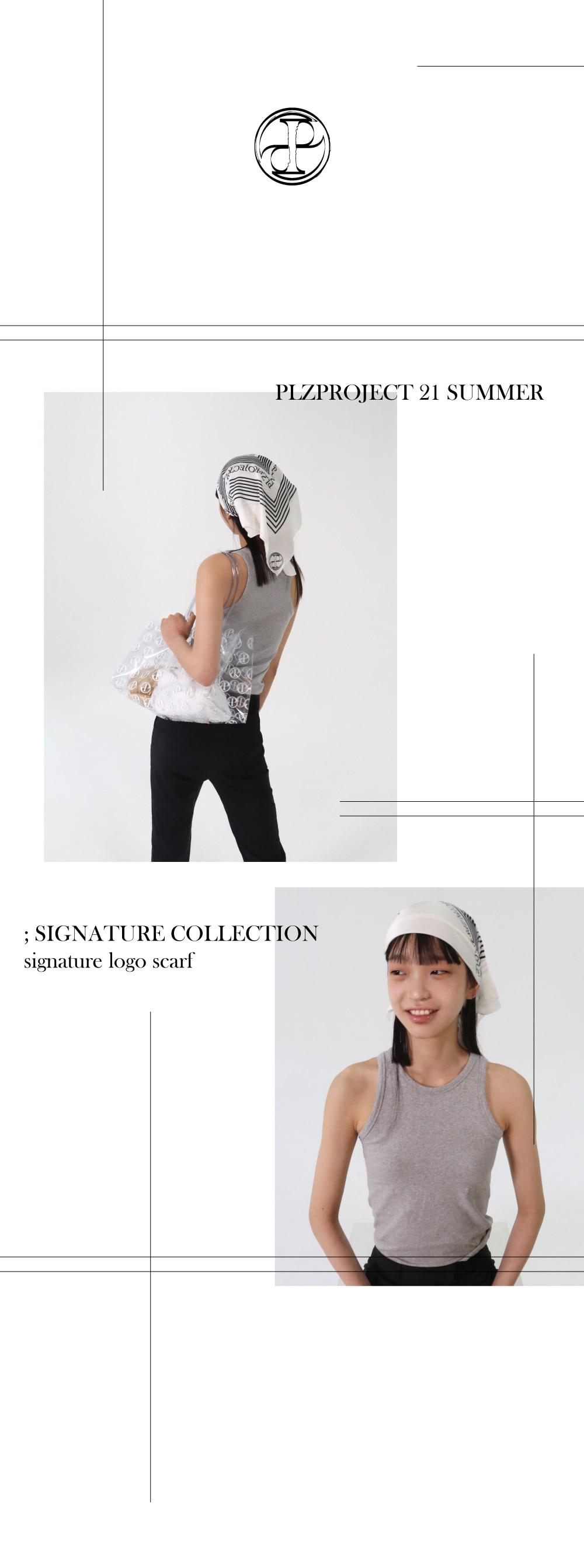 플리즈프로젝트(PLZPROJECT) signature logo printing scarf_ivory