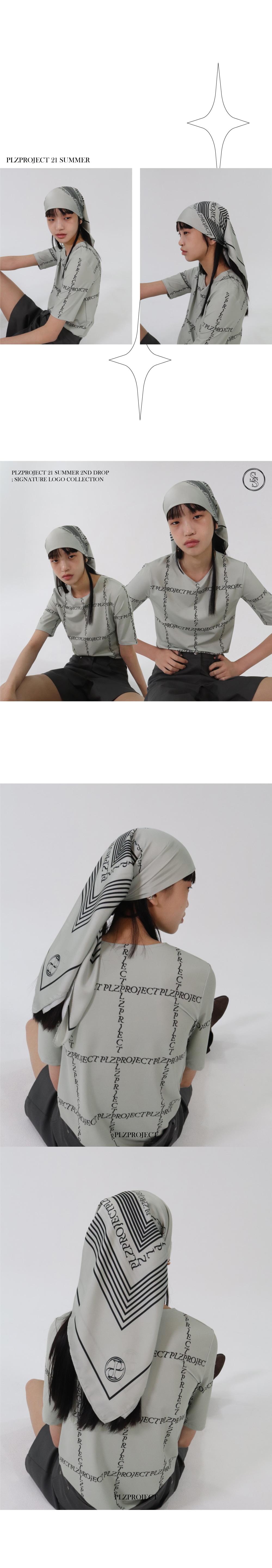 플리즈프로젝트(PLZPROJECT) signature logo printing scarf_khaki